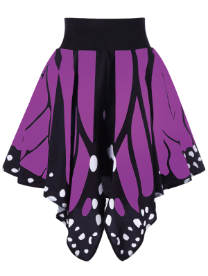Alta Cintura De La Forma De La Mariposa Falda - Púrpura L