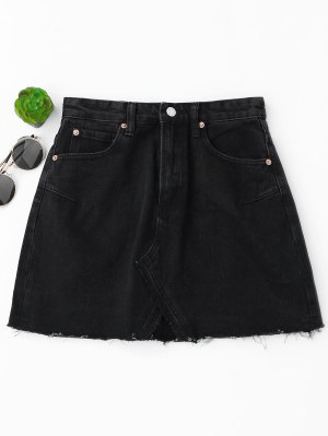 High Waisted Cutoffs Mini Denim Skirt - Black L