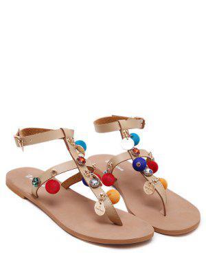 Sandales à Talons Plats T Bar Pompon - Abricot 37