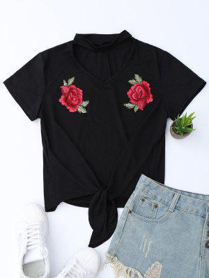Camiseta Del Dobladillo Del Nudo Del Ahogador Con Las Flores Bordadas - Negro Xl