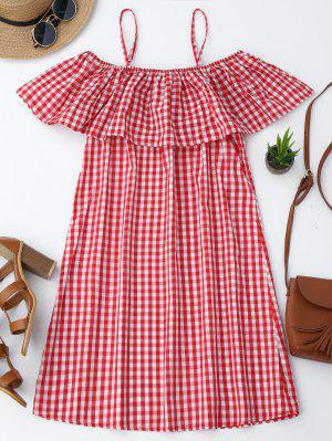 Cami Plaid Ruffle Dress - Red M