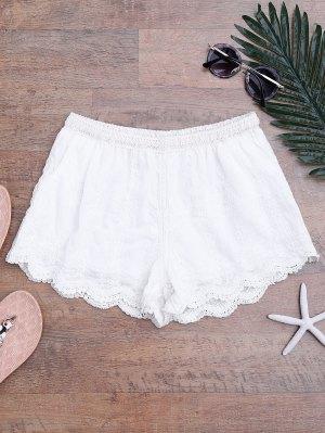 Scalloped Saum gefüttert Cover Shorts