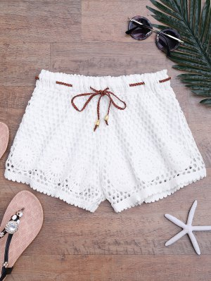 Lined Drawstring Crochet Cover Up Shorts - White