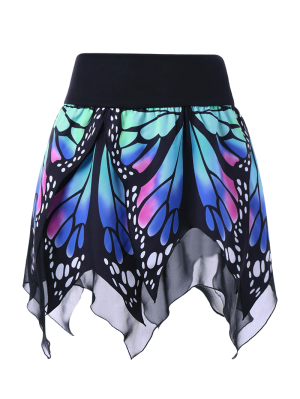 Falda De Pañuelo Con Estampado De Mariposa En Cintura Alta - Azul L