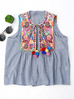Embroidered Open Front Waistcoat With Bell - Stripe M