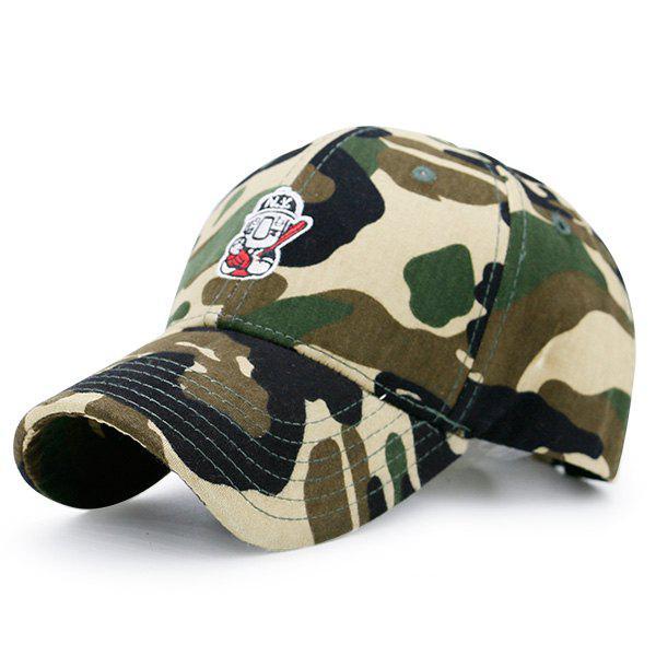 Chapeau de baseball de camouflage de broderie à motifs Cartoon