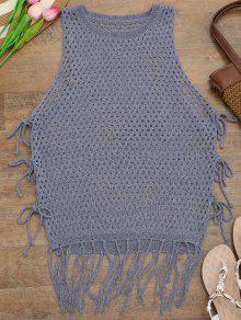 Tie Side Open Knit Beach Cover Up Top - Purple
