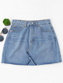 High Waisted Cutoffs Mini Denim Skirt - Light Blue M