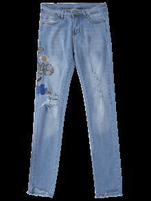 2018 zerrissene jeans mit pailetten und blumenstrickerei von denim blau xl zaful. Black Bedroom Furniture Sets. Home Design Ideas