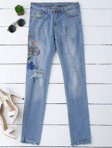 Ripped Floral Embroidered Sequins Jeans - Denim Blue M