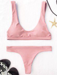 Padded U Neck Bralette Thong Bikini - Pink M
