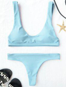 Padded U Neck Bralette Thong Bikini - Light Blue M