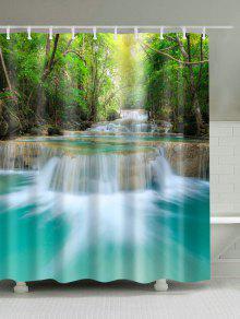 الربيع المياه مشهد البوليستر النسيج دش الستار - W59inch*l71inch