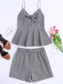 Plaid Peplum Knot Top And Shorts - Black S