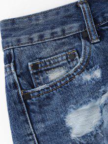 Cutoffs Ripped High Low Denim Shorts DENIM BLUE: Shorts M | ZAFUL