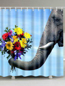 الفيل الأزهار العفن العفن مقاومة الستار - أزرق W71inch*l71inch