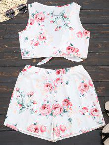 2019 Knot Hem Floral Crop Top And Shorts In White Xl Zaful