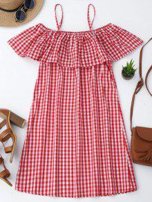 فستان كامي منقوش كشكش - أحمر Xl