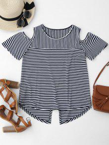 Cold Shoulder Striped Back Slit T-shirt - Purplish Blue S