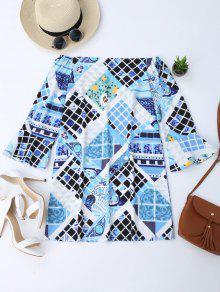 Off Shoulder Printed Tunic Dress - M