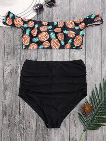 Bikini Fruncido Con Cintura Alta Con Estampado De Piña Con Hombros Al Aire - Negro M