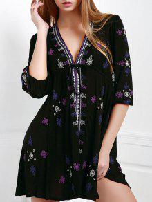 Embroidered Drawstring Design Mini Dress - Black M