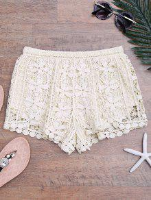Lined Crochet Cover Up Bottoms - Beige