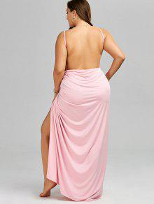 a3724b8736 2019 Plus Size Maxi Flowy Beach Cover Up Wrap Dress In PINK XL