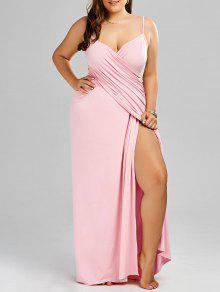 فستان ماكسي بنمط لف ذو مقاس كبير - زهري 3xl