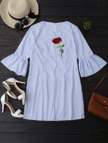 Striped Tunic Dress With Embroidered Rose - Stripe Xl