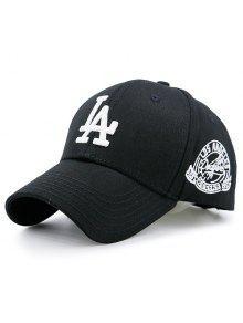 خطابات شعار التطريز قبعة بيسبول - أسود