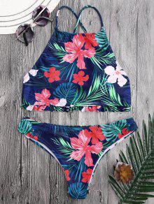 Bikini De Flores Tropicales Con Cuello Alto - Floral S