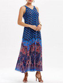 فستان مريح شاطئ صيف ماكسي كهنوتي الرقبة V - أزرق M