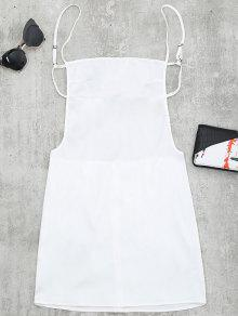 Backless Mini Slip Dress - White S