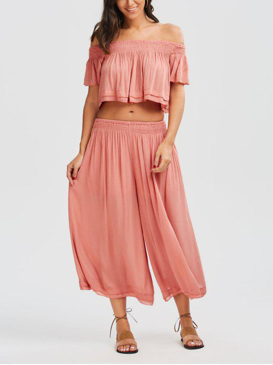 shop Off Shoulder Top and Wide Leg Capri Pants - PAPAYA S