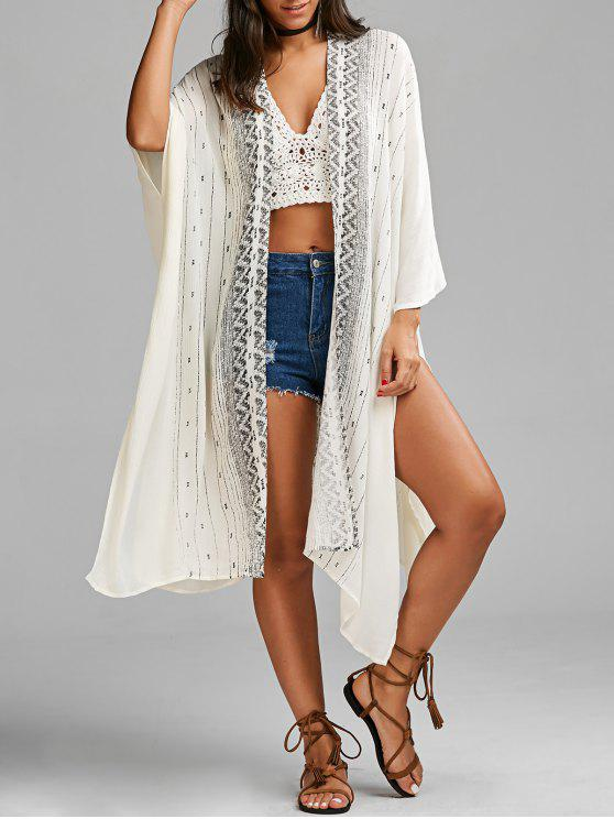 shop Graphic High Slit Open Front Blouse - WHITE ONE SIZE