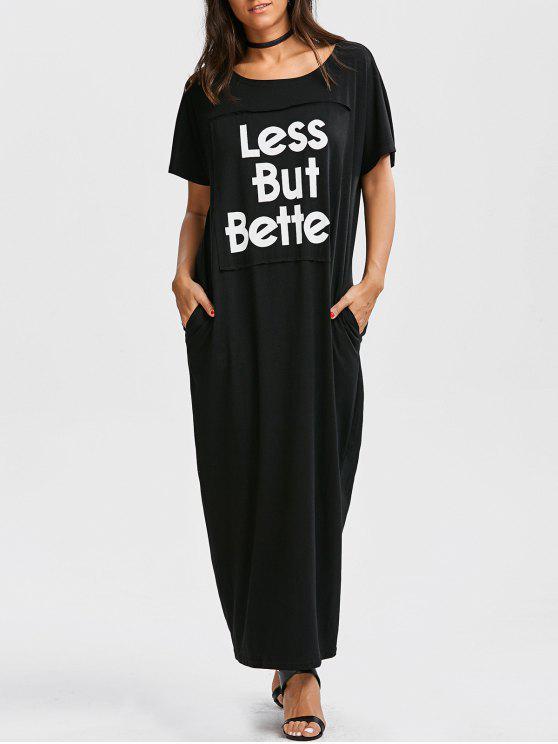 فستان زائد الحجم طباعة الحرف ماكسي - أسود XL