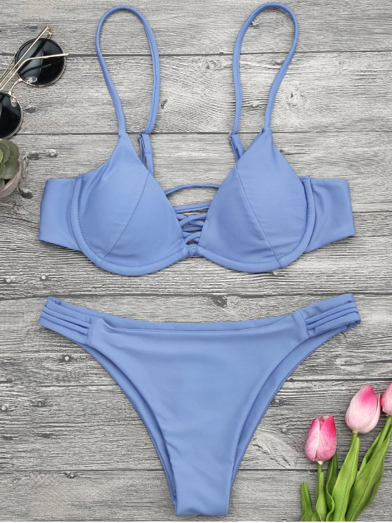 lady Lattice Padded Underwire Bikini Set - BLUE M