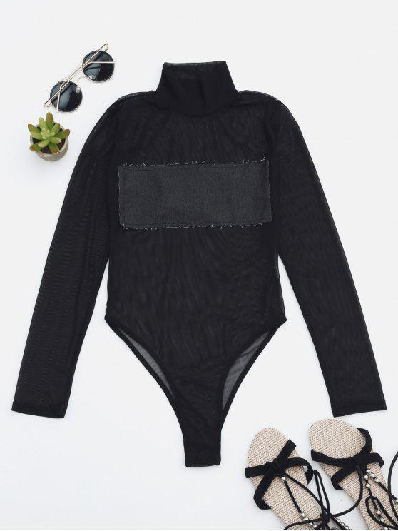 fashion Sheer Mesh Patch Front One Piece Swimsuit - DEEP GRAY XS