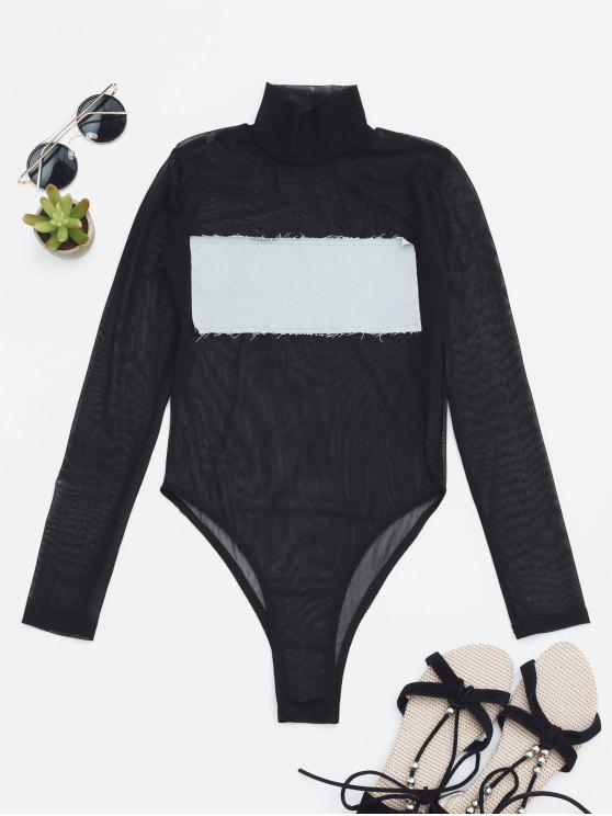 Sheer Mesh Patch Front Einteiliger Badeanzug - Hellgrau M