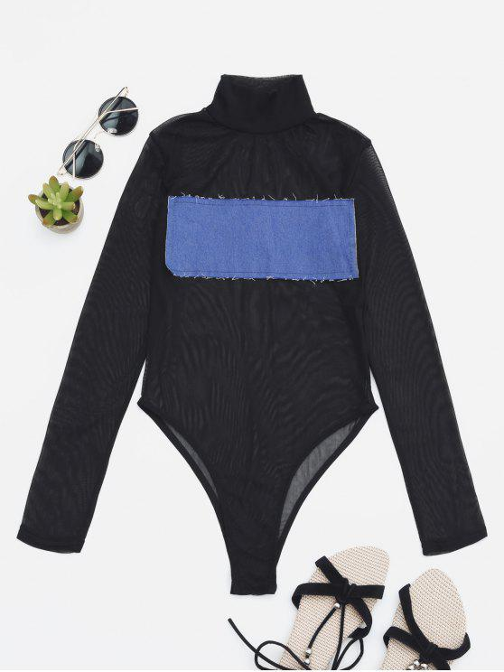 women's Sheer Mesh Patch Front One Piece Swimsuit - BLUE L