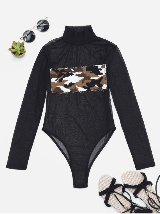 online Sheer Mesh Patch Front One Piece Swimsuit - CAMOUFLAGE L