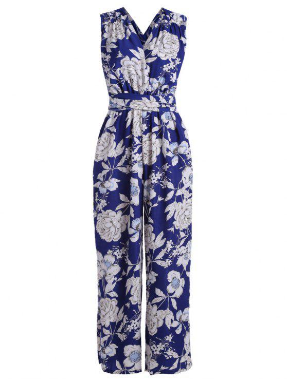 Mono Femenino Convertible de Flores de Palazzo con Pierna Ancha - Azul XL