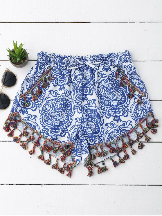 lady Printed Ethnic Tassels Shorts - BLUE AND WHITE XL