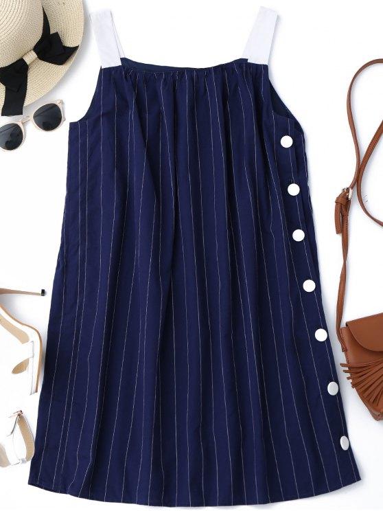 Botón lateral hasta el mini vestido de las rayas - Raya S