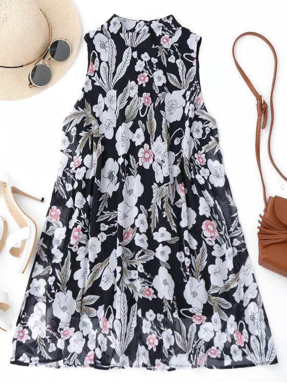 Alto Cuello Floral A-Line Mini Vestido - Floral L