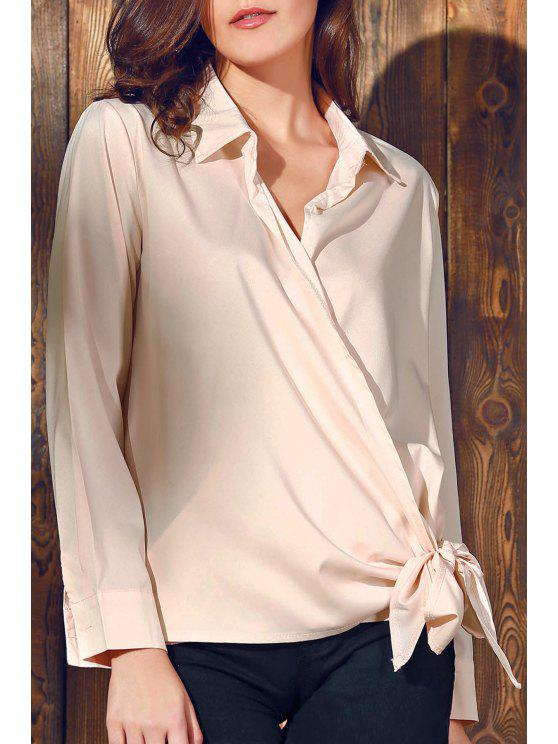 lady Solid Color Shirt Collar Long Sleeve Knotted Blouse - PINK L