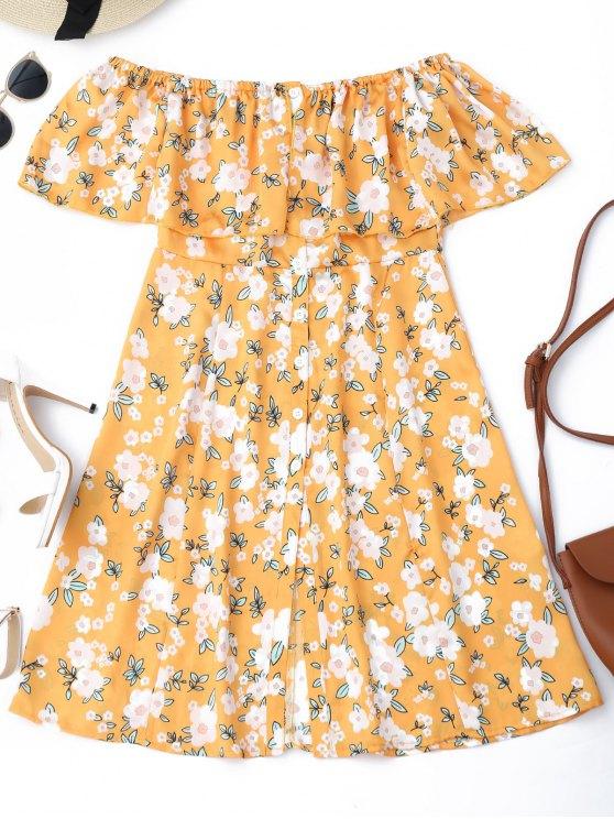 زر أسفل الأزهار قبالة الكتف البسيطة اللباس - الأزهار XL