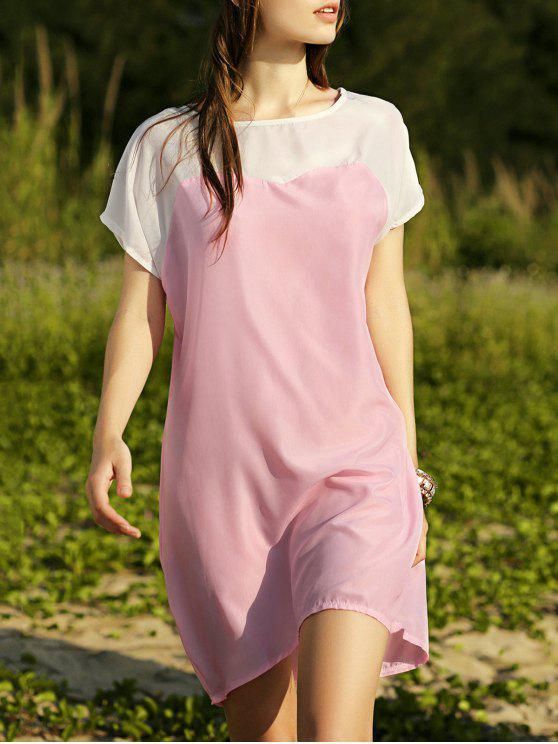 latest Batwing Sleeve Two-Tone Dress - PINK L