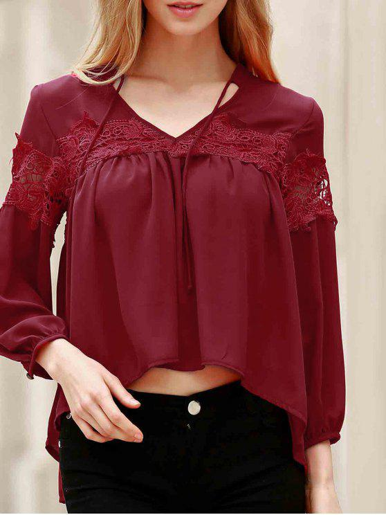 trendy Lace Splicing V Neck Lantern Sleeve Blouse - RED M